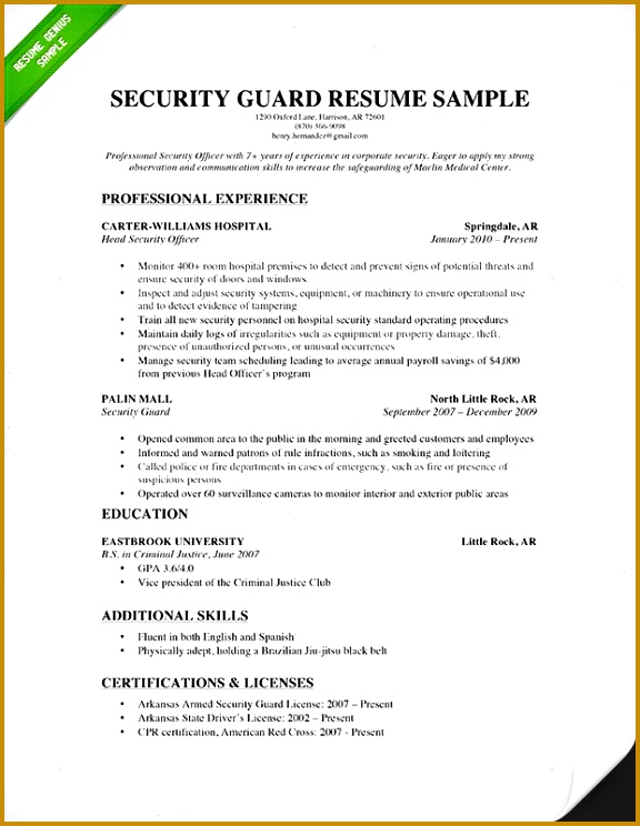 Resume For Security Guard 2 Security Guard Resume Sample 2015 744576