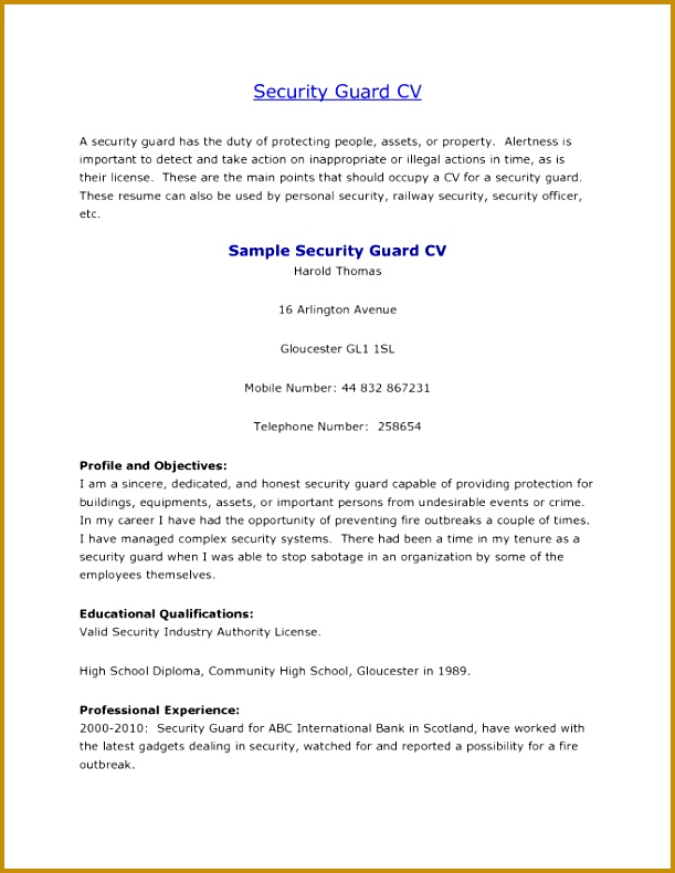 How To Write A Profile For A Resume Entry Level Security Guard Templates 10 Security Guard 611790