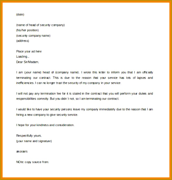 doc contract termination letter sample u2013 notice of 584560