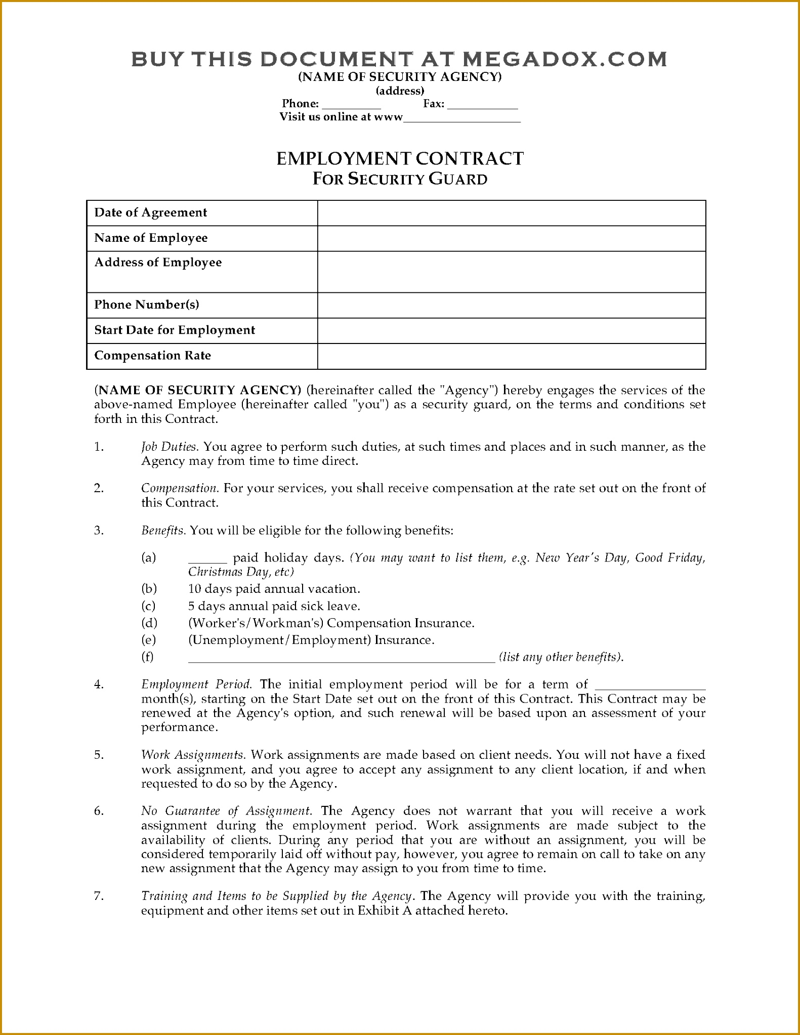 Picture of Security Guard Employment Contract 15812046