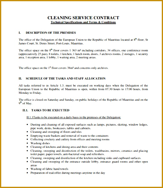 cleaning contract template PDF 626544