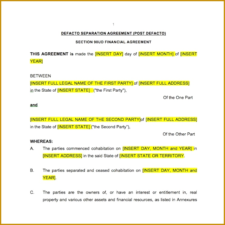 3 Separation Financial Agreement Template
