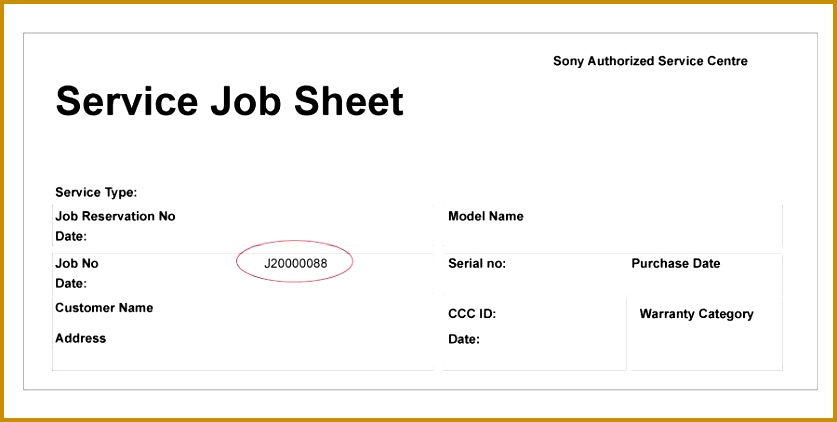 Service Job Sheet Template  Fabtemplatez
