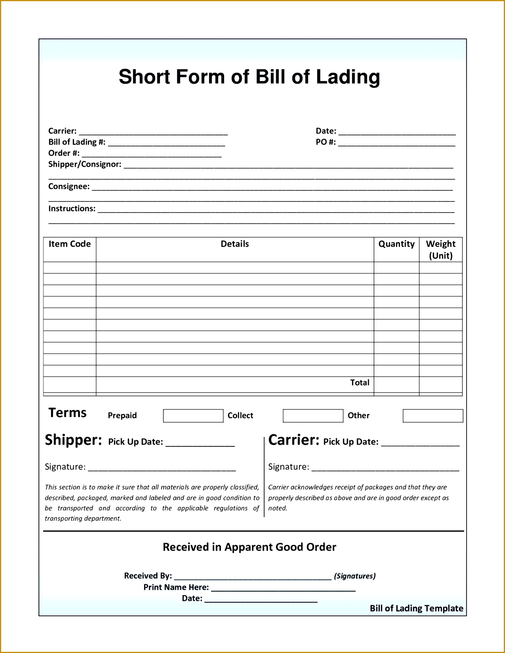 Bill Of Lading Template Word Numbered Raffle Ticket Template Free Short Form  Bill Of Lading Template