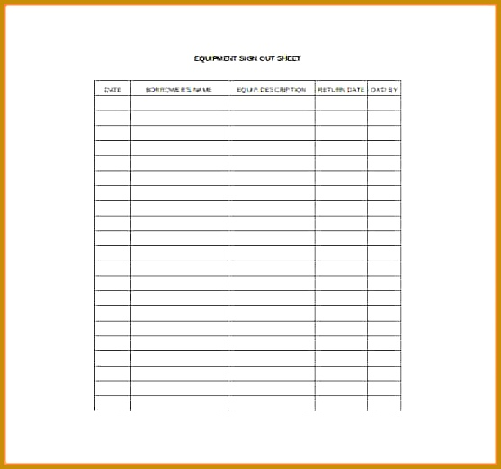 printable excel spreadsheet Equpimane Sign Out Sheet Excel Template Free Download 522557