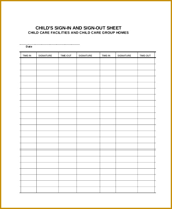 Printable Child Sign In Sheet Template 678558