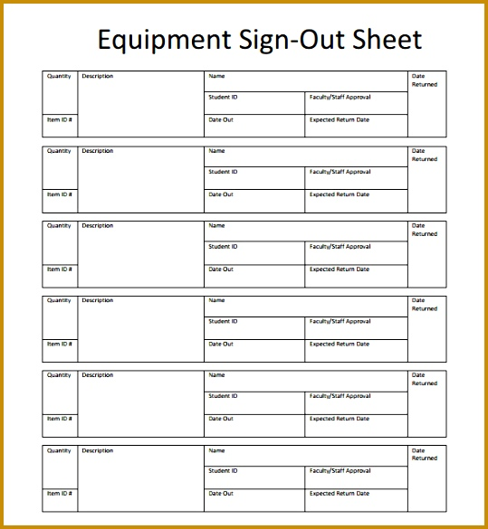 Printable Sign Out Sheet Template Free 585539