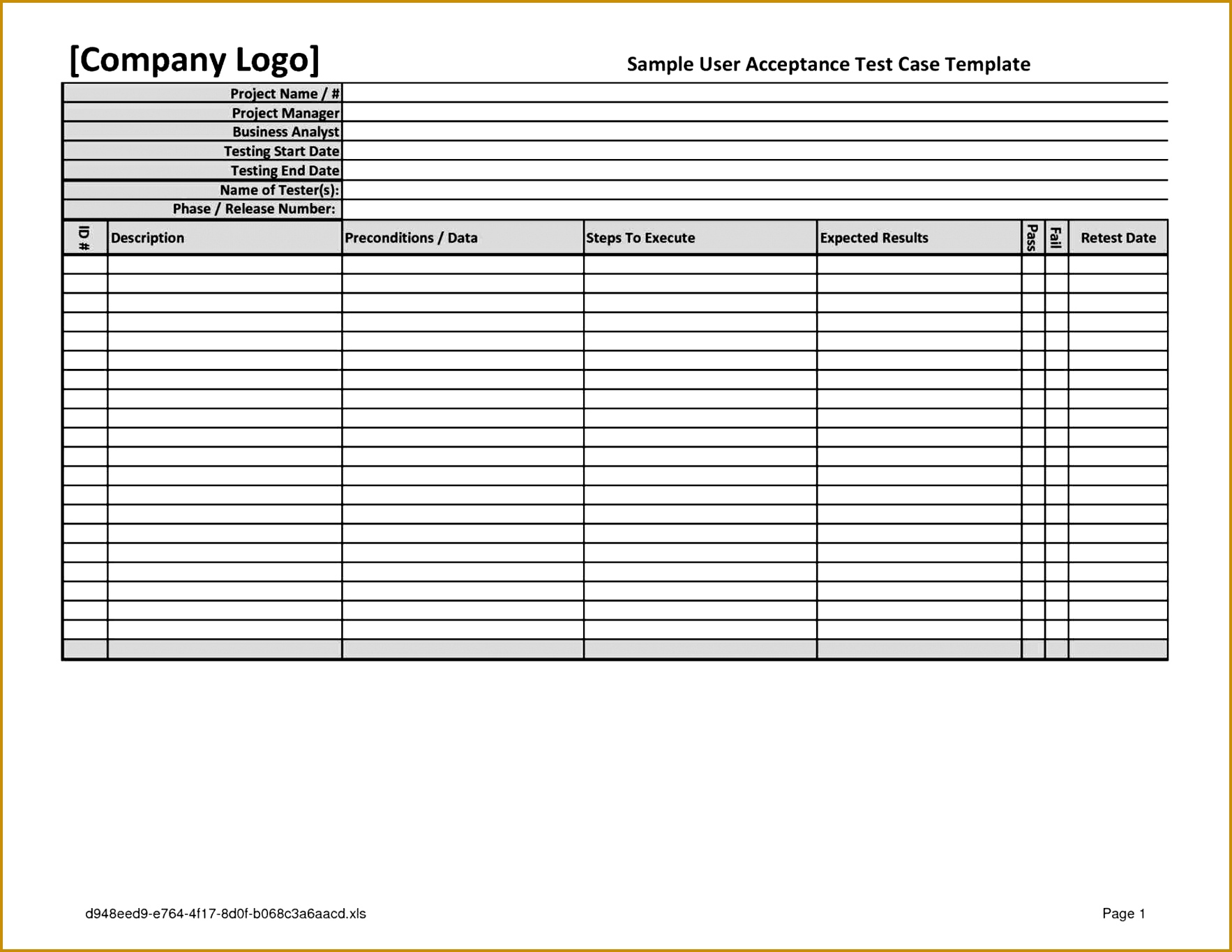 uat Test Script Template Excel testing template best business sign off report specification document testing Test 13651766