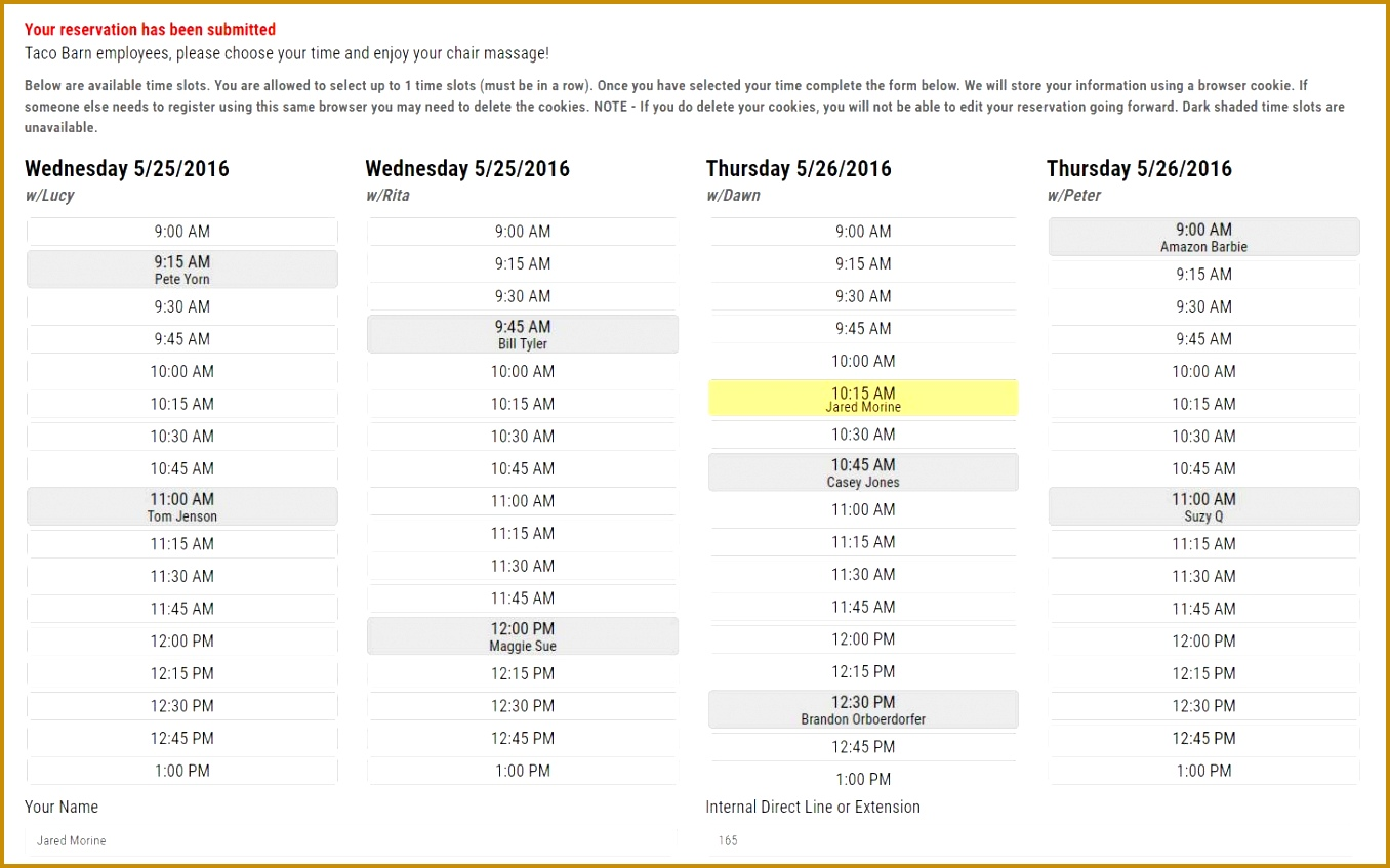 sign up sheet template with time slots