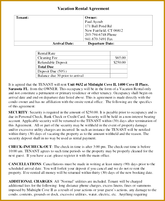 Vacation Rental Agreement Template ...