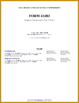 CITIGROUP INC Form 424B2 Filing Date 10 28 2011 358277