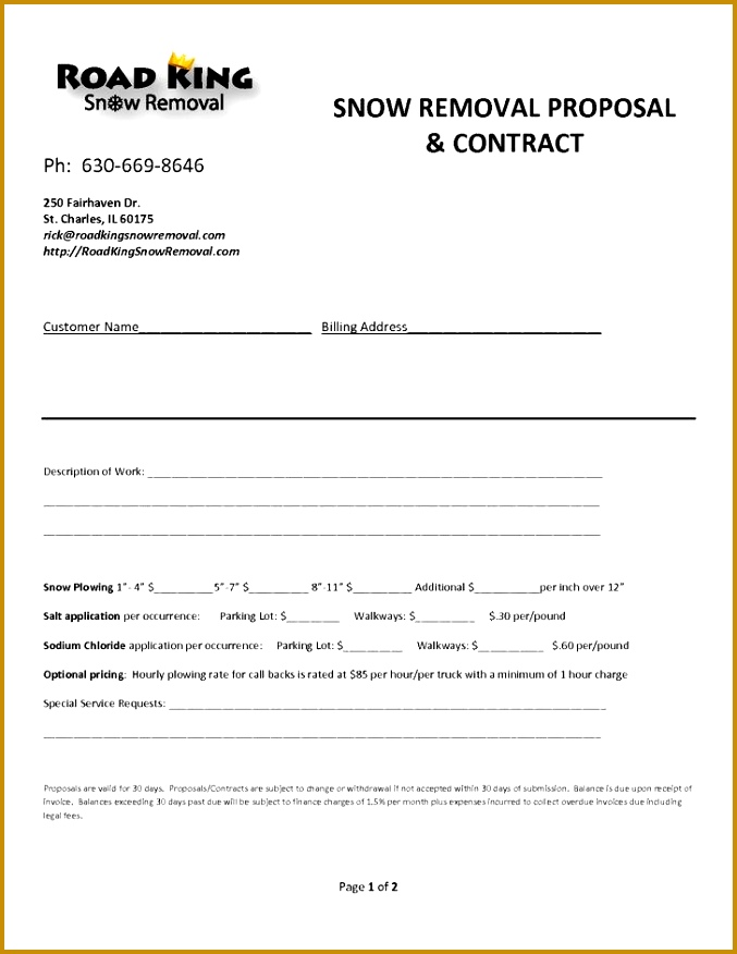 Snow Plowing Contract Templates 677876