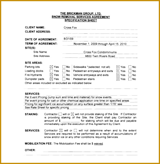 mercial Snow Plow Contract Template 558544