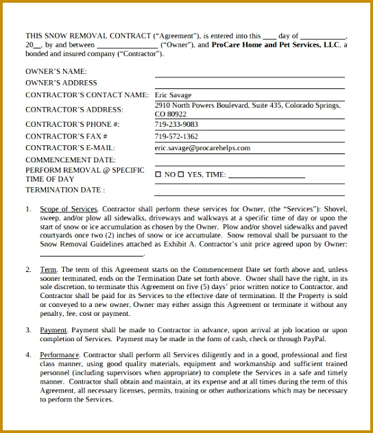4 snow plow contract template