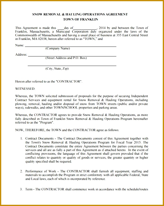 Snow Plowing Contract Template 20 Free Word Pdf Documents in Snow Removal Contract 682544