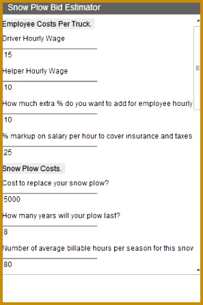 Snow Plow Bid Estimator screen cap 1 446297