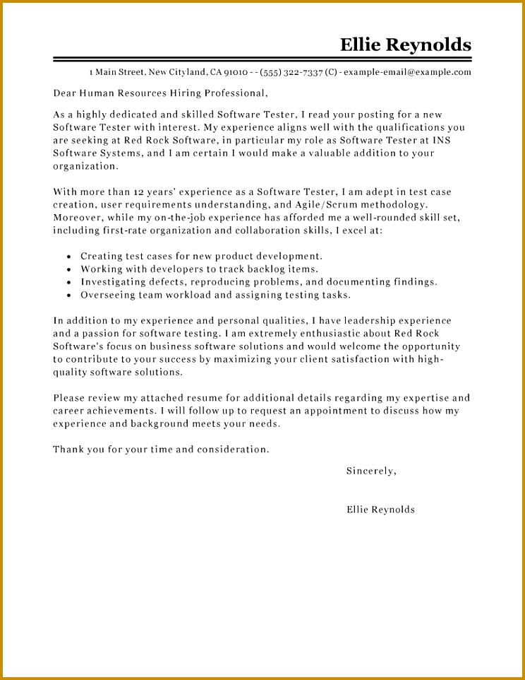 Software Testing Cover Letter Example 962744