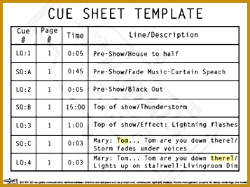 Stage Lighting Cue Sheet Template 19931 Cue Sheet Template Poster ...