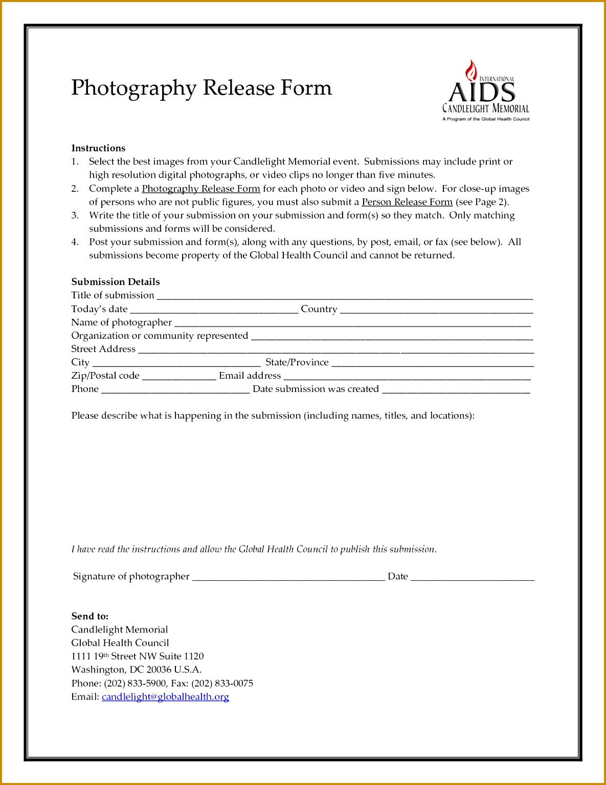 standard photo release form template