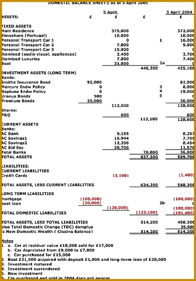 Balance Sheet Sample Domestic Balance Sheet DBS to be referenced by Domestic Well Being Accounting DWBA 557388