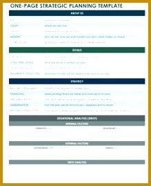 one page strategic plan excel template 269219