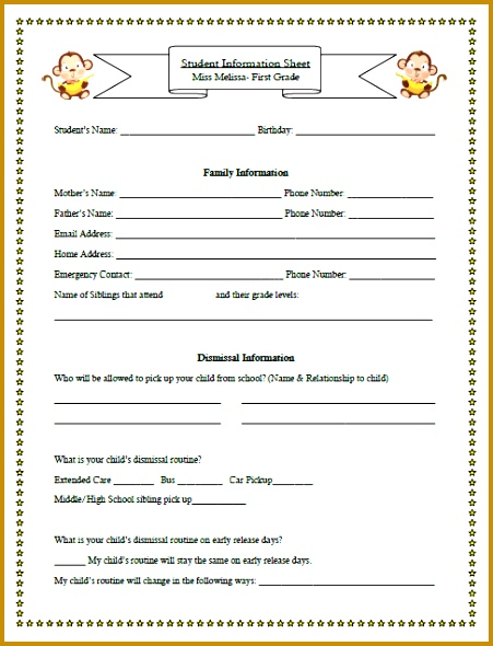 5 student information sheet template for teachers fabtemplatez in that particular case the teacher had never been told previously about the ve arian household bobcat beginnings open house student information sheet maxwellsz