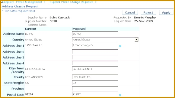 After you approve the changes the application displays these changes in the supplier s profile 324580