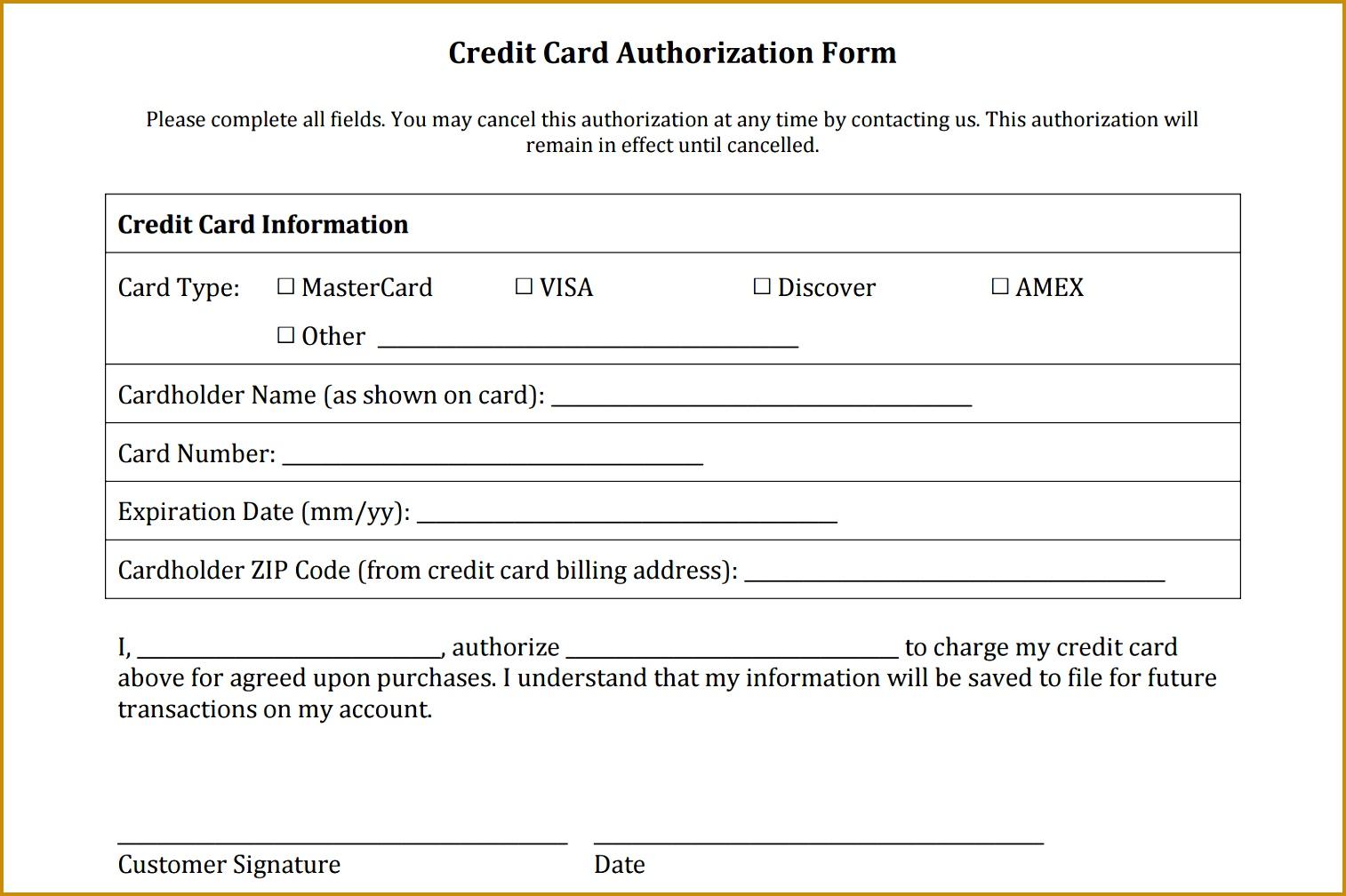 credit authorization form 10081514