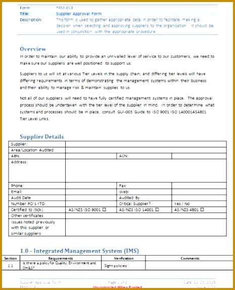 4 Supplier Approval Form Template