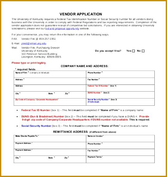 Free Printable Vendor Application Form PDF Format Free Download 544576