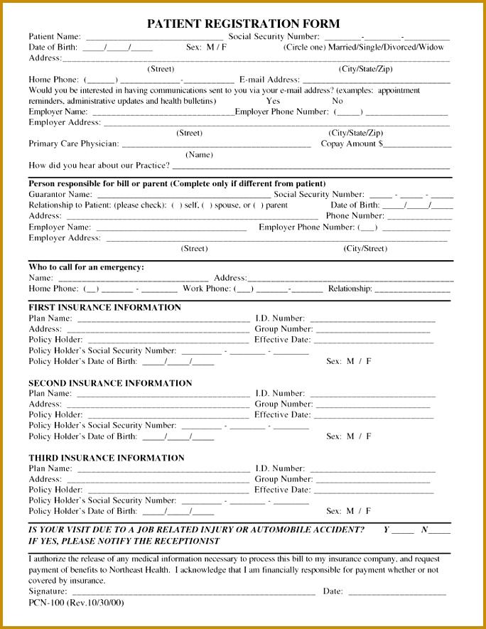 Free Patient Registration Form Template 885684