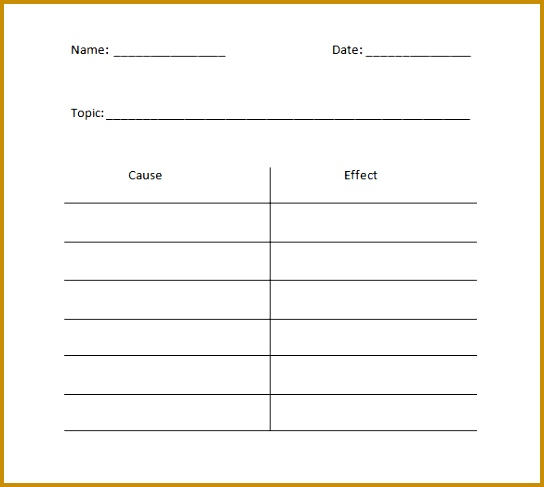 Free Cause & Effect T Chart Example Template Download 487544