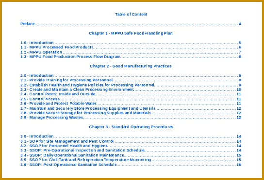 Free Table Content Template Doc Format 372544