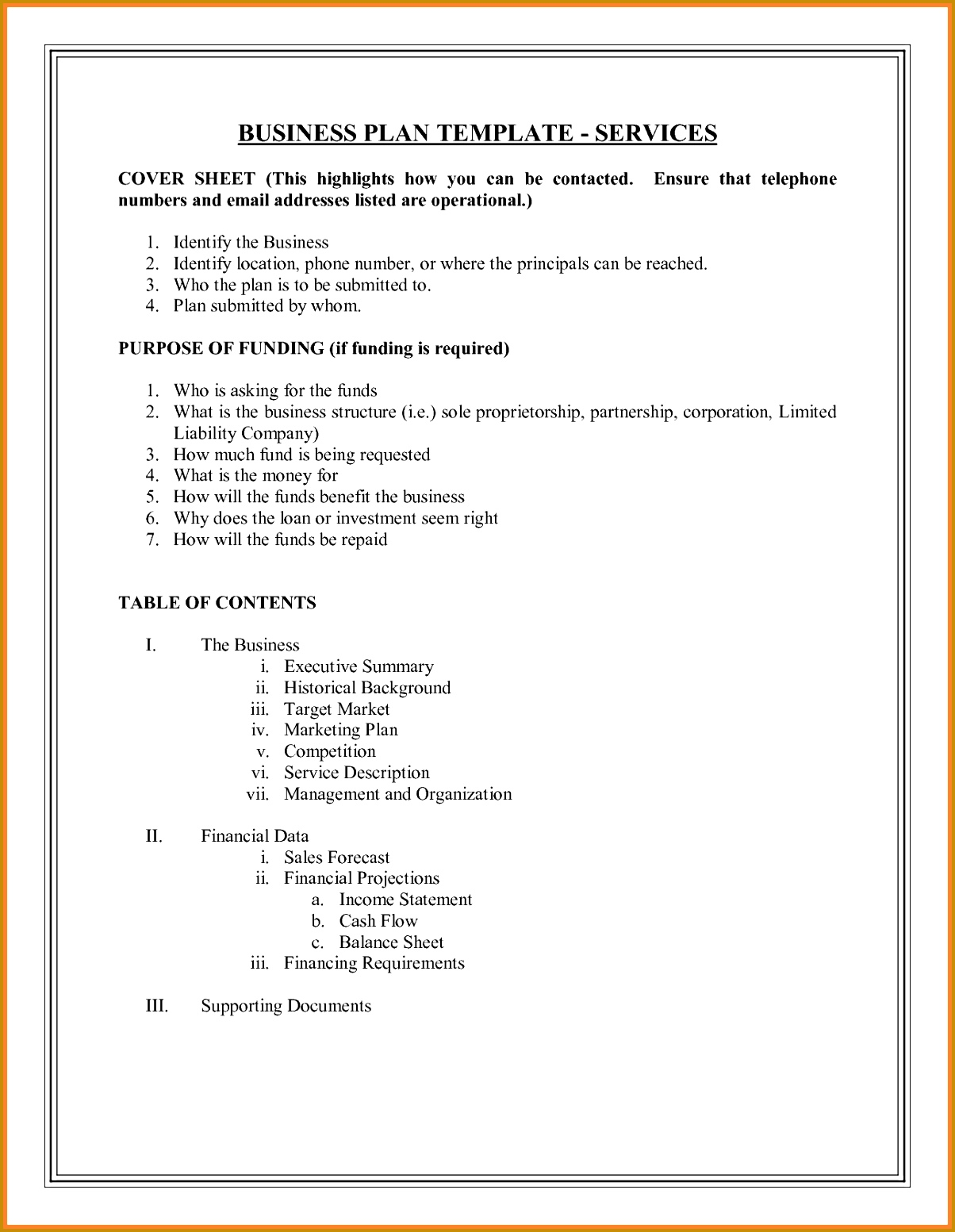 example of a business plan layout DOC business plan outline template 15531204
