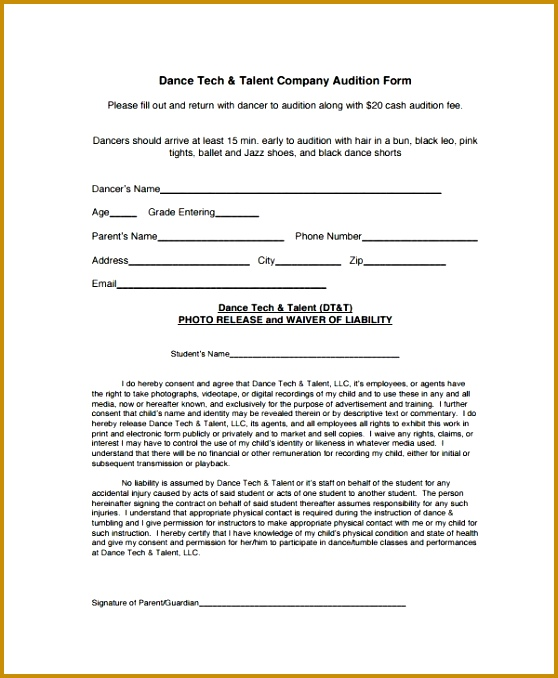 3 talent show registration form template