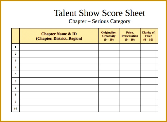 Nice 5 Talent Show Sign Up Sheet Template