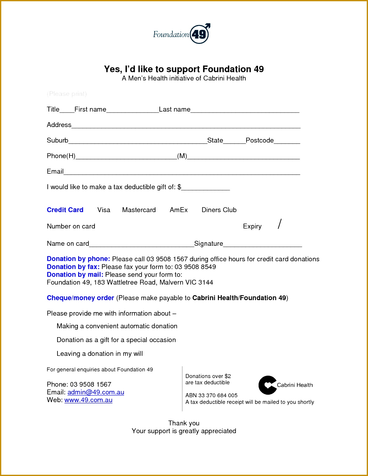 6 Tax Donation form Template