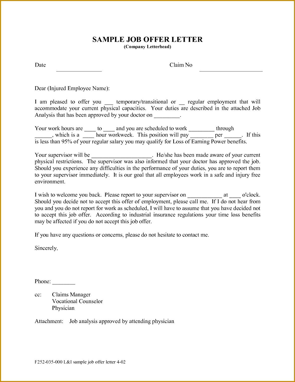 Employment fer Letter Template Best Business 11851534