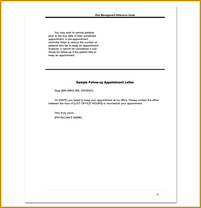 Follow Up Doctor Appointment Letter Format 651673