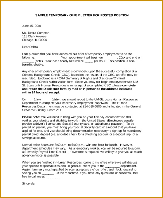 Temporary Appointment Letter Format 678558