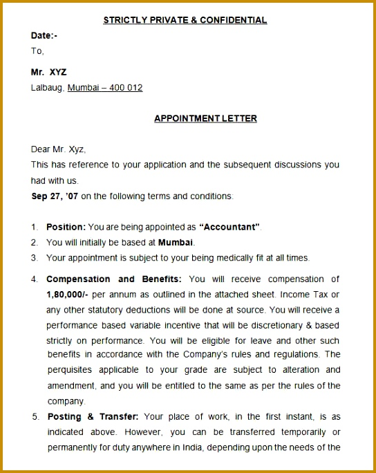 Appointment Letter Format 684544