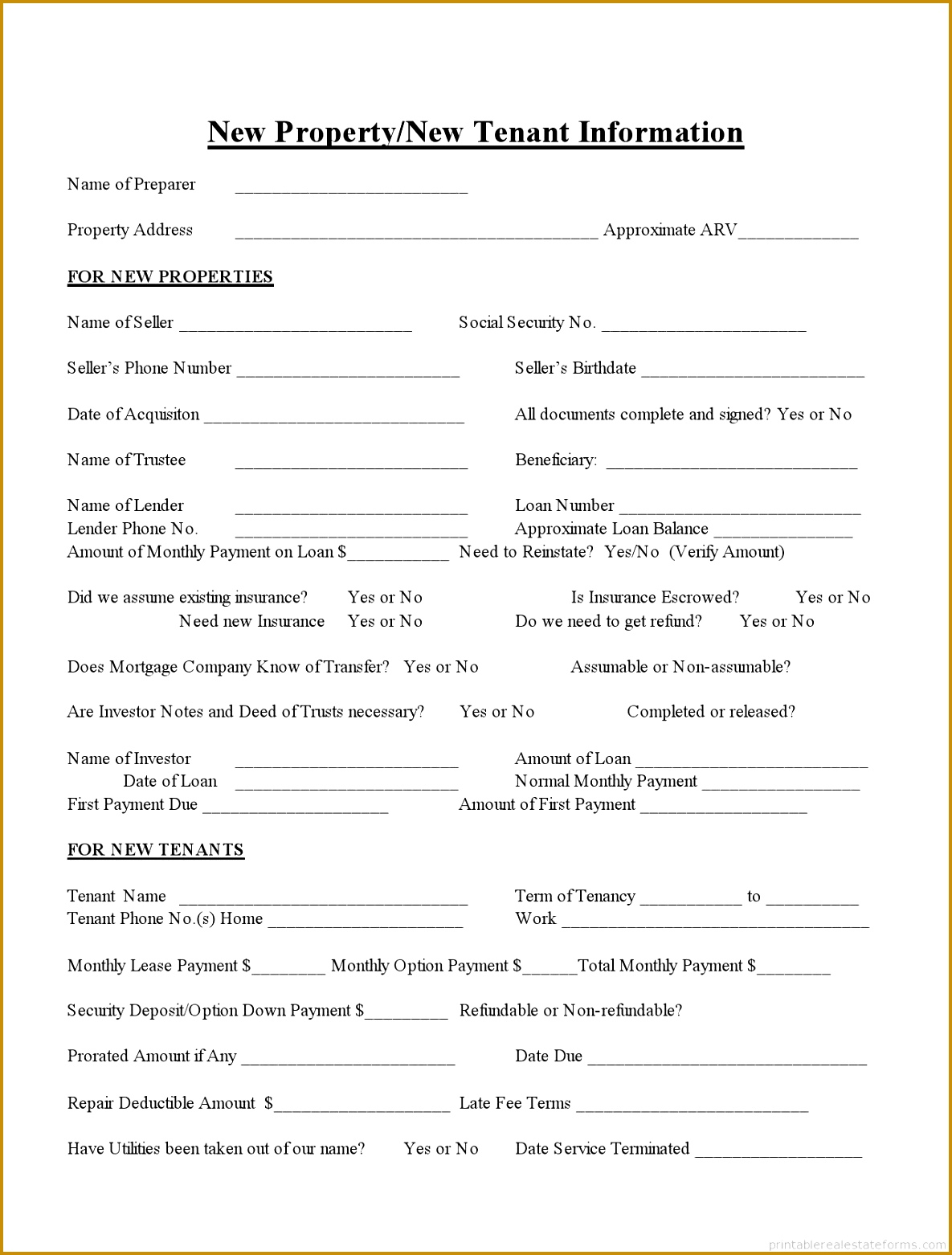 Sample Printable new propertynew tenant information Form 15621185