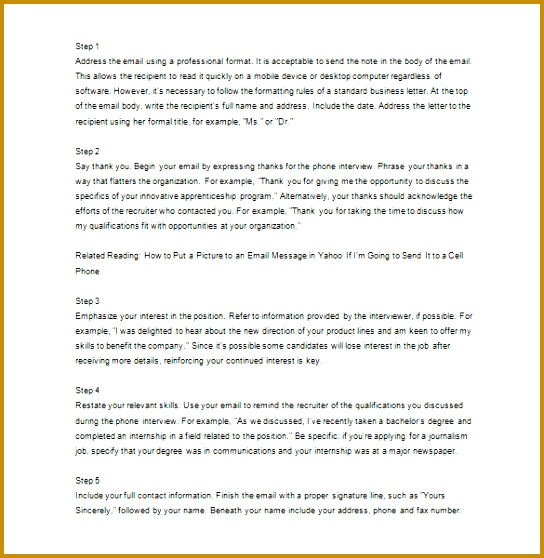 How to Write Email Thank You for Phone Interview Template 558544