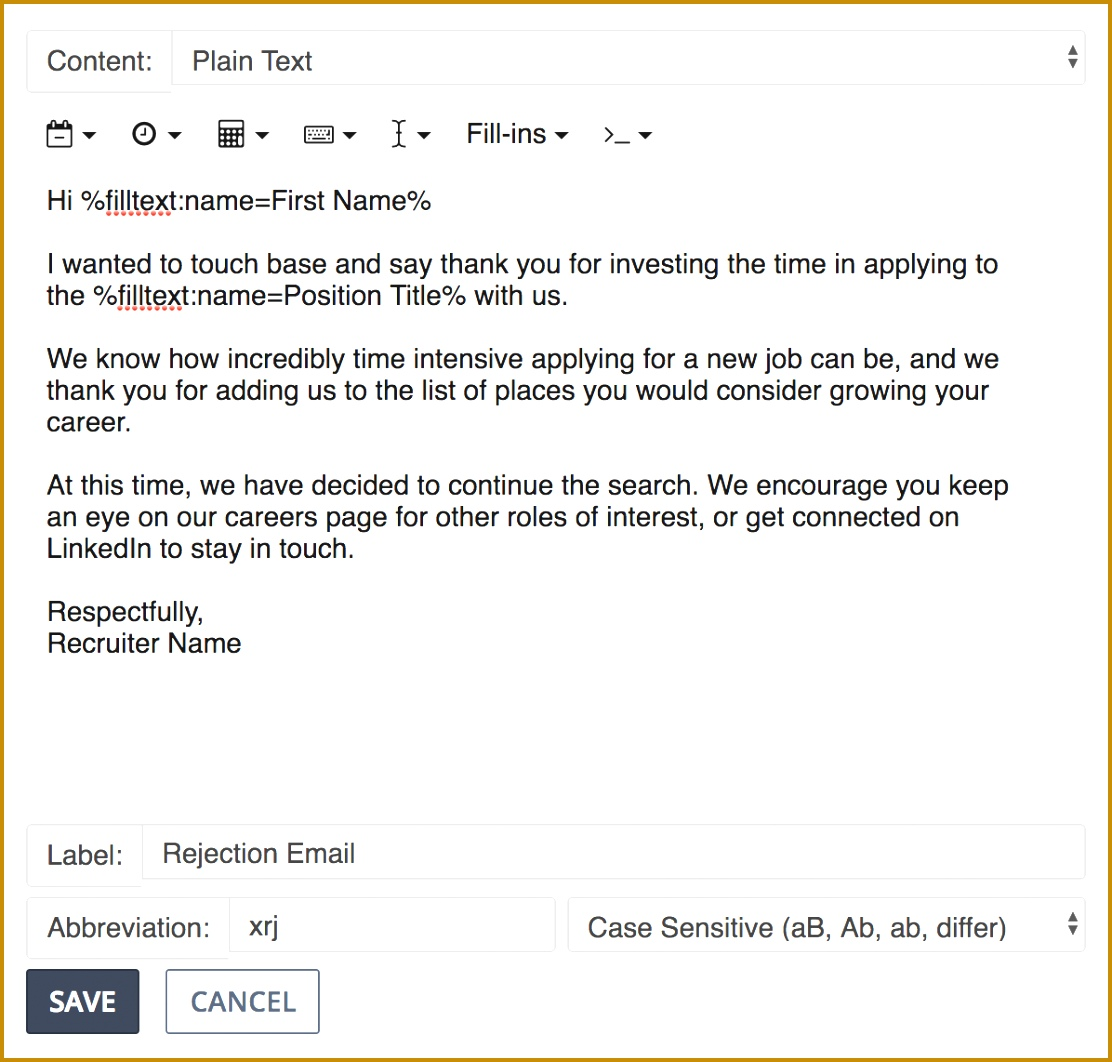 Preview of snippet for rejection email to candidates 10621112