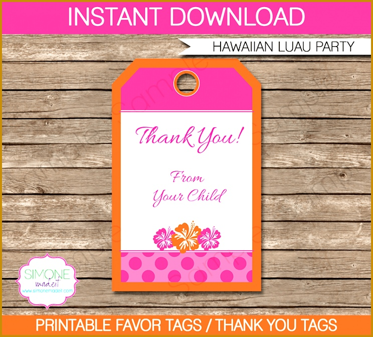 Hawaiian Luau Party Favor Tags template 673744