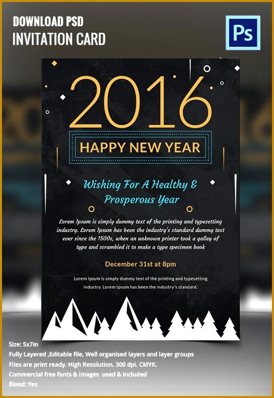 Happy New Year Chalkboard Invitation Template 790544