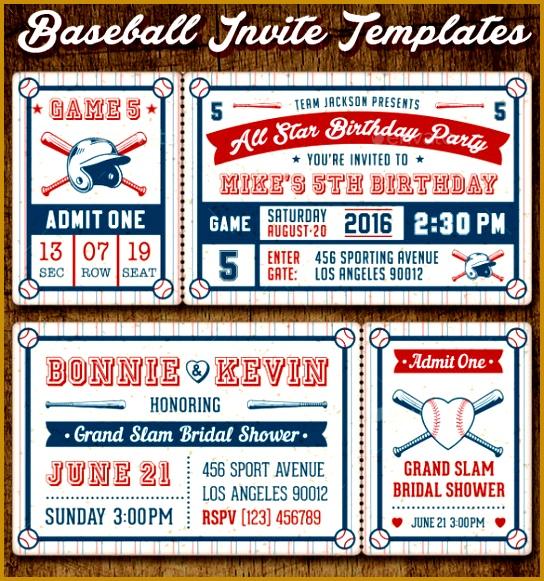 Ticket Style Invitation Template Baseball Invitation Template Orderecigsjuice Download 581544
