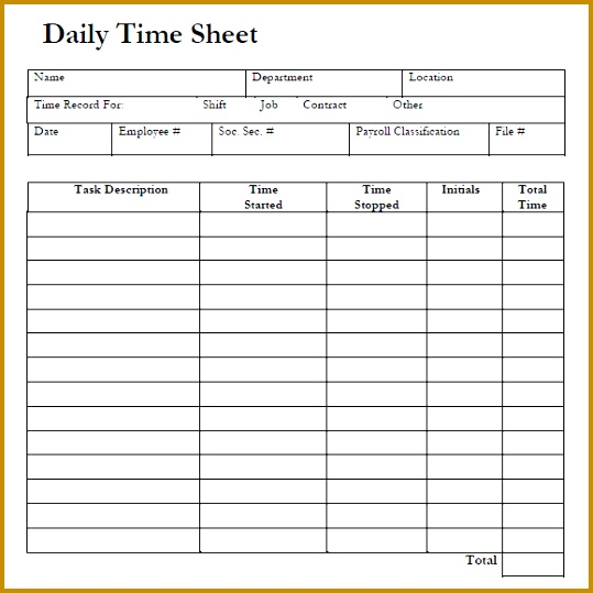 7 Time Sheets Template Free