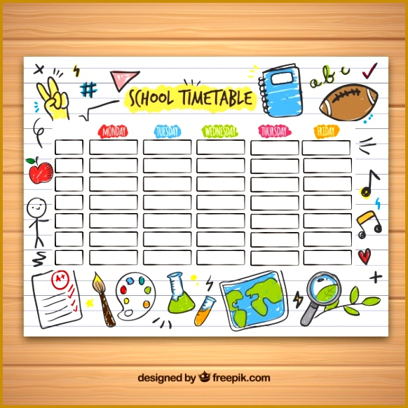 school timetable template with hand drawn school objects 23 582582