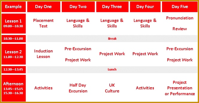 Example Junior English Summer School Timetable 345664
